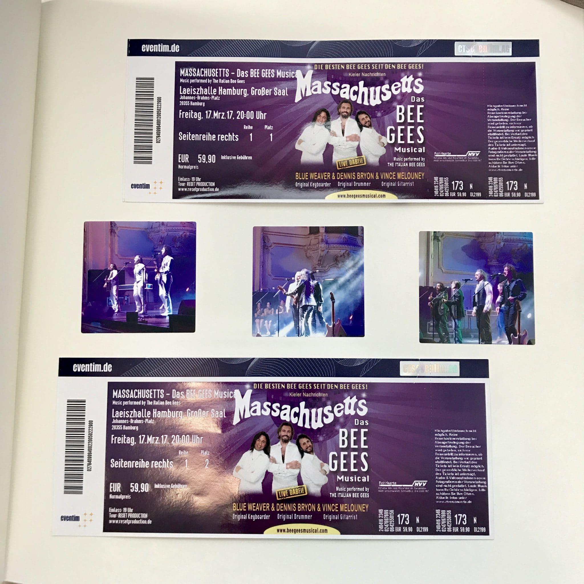 Die Tickets mit drei Nahaufnahmen des Musicals